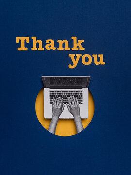 """Laptop writing """"""""Thank you"""""""""""
