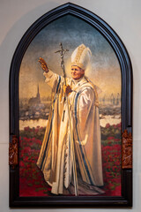 Painting of pope johannes Paul II in the Cathedral Basilica of St James the Apostle in the old town of Szczecin, Poland
