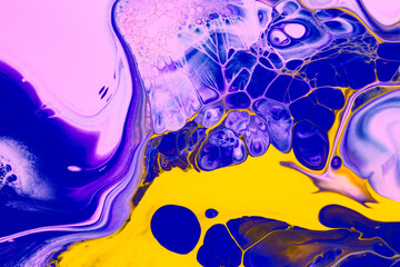 Fluid art texture. Abstract background with swirling paint effect. Liquid acrylic picture that...