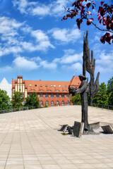 Provincial Police Department and angel of freedom in Stettin, Poland