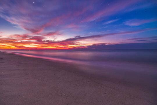 Belmar beach Nj shore sunrise with a hint of stars!