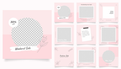 social media template banner fashion sale promotion. fully editable instagram and facebook square post frame puzzle organic sale poster. pink red floral vector background
