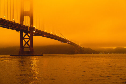 Golden Gate Bridge In Smoke