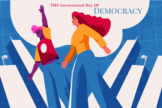 International day of democracy with people.vector illustration.15 September.