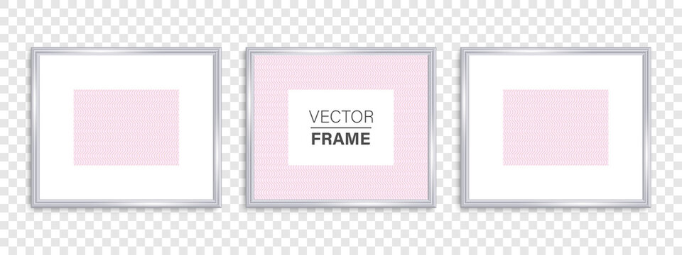 Frames mockup. Vector frames. Frames silver. Silver vintage frame with shadows isolated on transparent background. Silver luxury realistic square border. Vector illustration