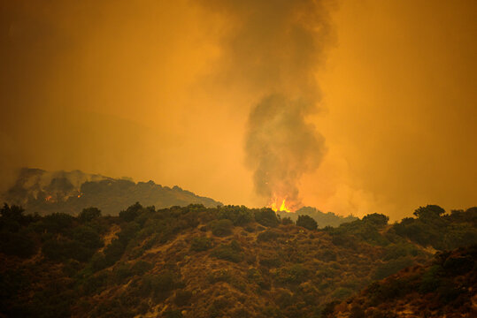 Fire in the mountains. Smoke in US air. Black smoke and orange sky due to fires in California. American fires threaten nature and human life.