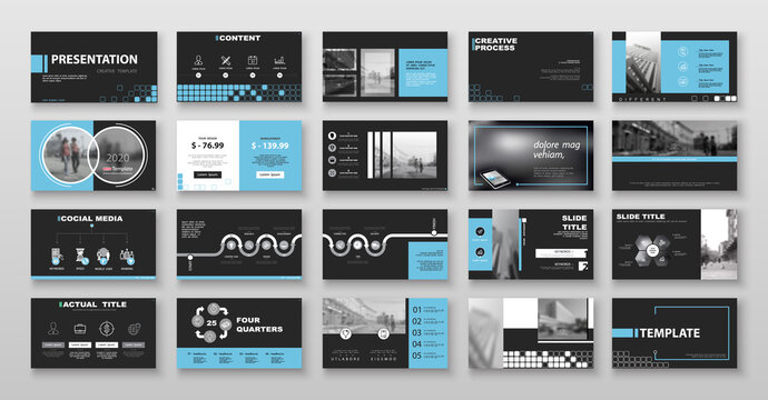 Geometric business presentation templates, turquoise and blue elements on black background. Use in flyers and SEO marketing, webinar pages, design, banner, annual report, website, Vector infographic