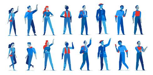 Collezione di personaggi maschili e femminili per l'animazione. Avatar donne e uomini in diverse posizioni isolati su fondo bianco