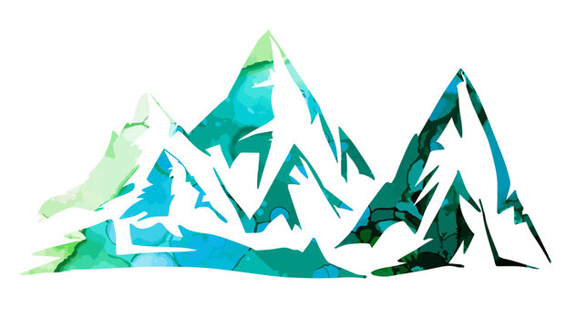 blue and green mountains. Mixed media. Vector illustration