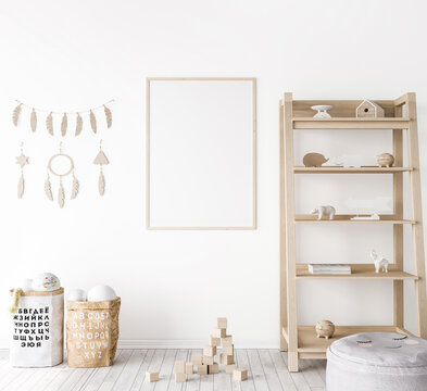 Frame mock up in farmhouse baby room, natural wooden furniture in nursery design on white wall background, 3d render