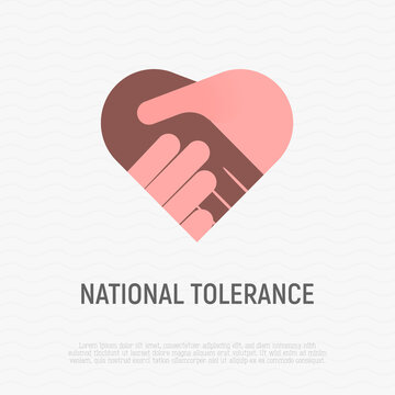 National tolerance flat icon. Handshake in heart shape. Multicultural cooperation, antiracism, integration in society. Vector illustration.