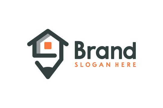 Creative pencil from home logo design.