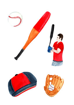 Baseball player,bat,ball,cap,glove watercolor hand painted isolated on white background.