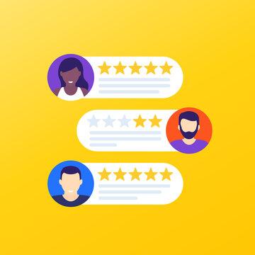 Customer reviews and feedback, vector