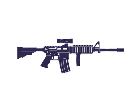 assault rifle, automatic gun with optical scope, vector