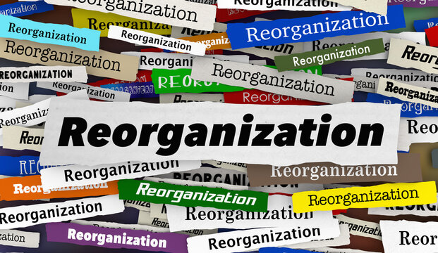 Reorganization New Restructure Change Business Company Disruption Headlines 3d Illustration