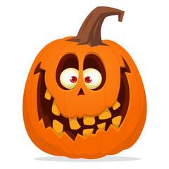Cartoon  funny  halloween pumpkin head isolated on white background. Vector illustration