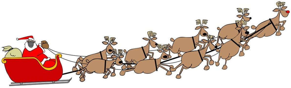Santa in his sleigh being pulled by nine reindeer all wearing face masks