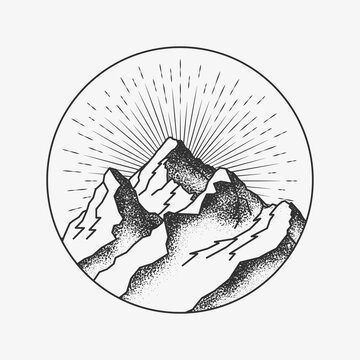 Mountains peak round circled logo or badge or sticker tattoo dotwork design for mountains poster or post or flyer design. Vector illustration