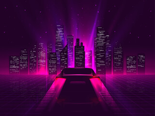 Lamas personalizadas con paisajes con tu foto Back side sport car silhouette with neon glowing red rear lights riding on high speed at night with cityscape on background. Outrun or vaporwave retro futuristic aesthetic vector illustration.