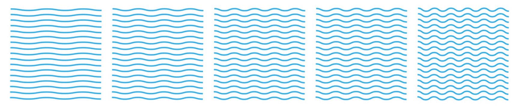 Set of wavy zigzag lines. Wave thin line background. Vector zigzag and wavy blue horizontal underline. Vector illustration EPS10.