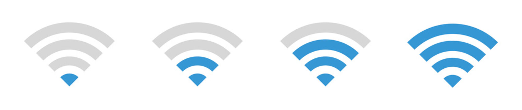 Set of Wi-Fi wireless signal icon. WiFi Zone Sign. Remote access and communication symbols. Wifi button. Vector illustration.