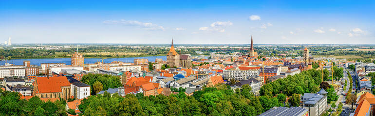 panoramic view at the city venter of rostock, germany