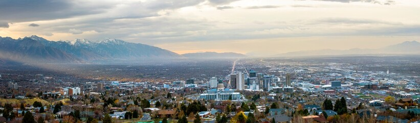 Salt Lake City, Utah USA skyline at dawn