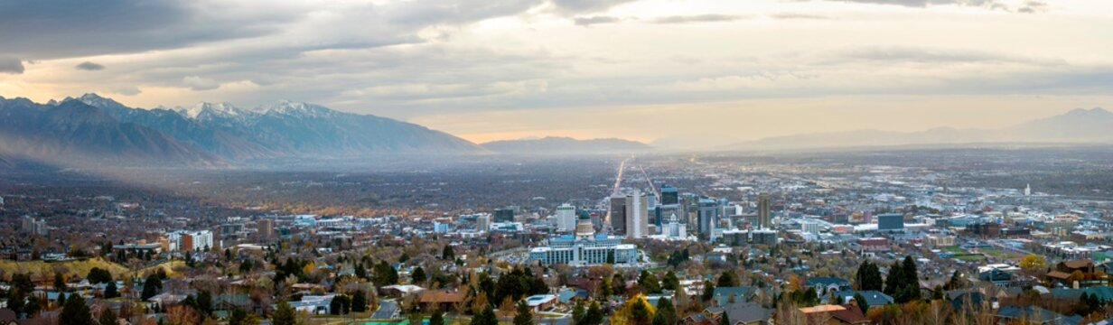 Salt Lake City, Utah USA skyline at dawn