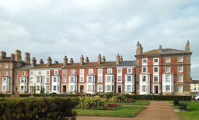 Terrace houses in Lowestoft, a touristic town in East Anglia, in the east part of England