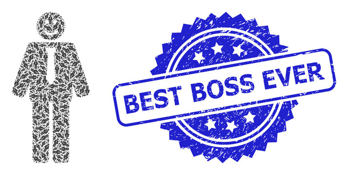 Scratched Best Boss Ever Stamp and Fractal Happy Boss Icon Mosaic