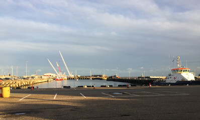 Small industrial dock at Lowestoft, touristic town in East Anglia
