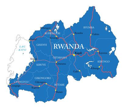 Rwanda highly detailed political map