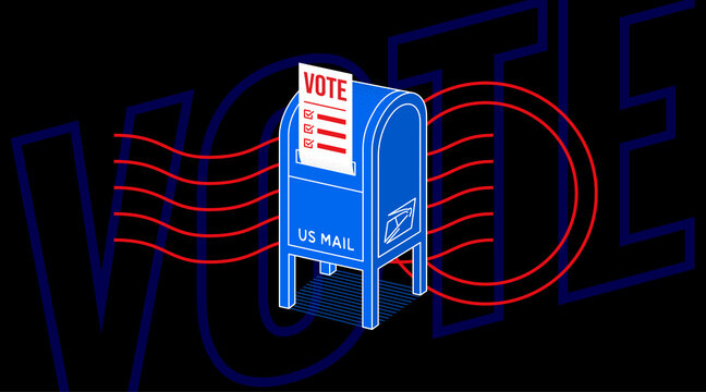 Illustration of Vote by Mail for the USA 2020 election with an image of a post box with ballot paper inside it