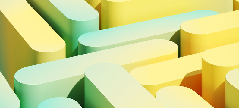 Minimal abstract mockup background for product presentation. Yellow and green blending gradient podium. 3d render illustration.