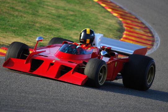 Mugello Italy November, 2007: Unknown run with his Historic 1970s Ferrari F1 312 B3 (spazzaneve) into Mugello Circuit in italy during Finali Mondiali Ferrari 2007.