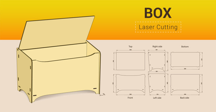 Cnc. laser cutting box. No glue. Vector illustration.