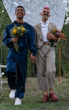 A homosexual couple that is getting married.