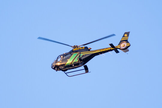 September 4, 2020 Sunnyvale / CA / USA - Santa Clara County Sheriff helicopter in mid flight