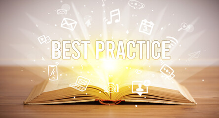 Opeen book with BEST PRACTICE inscription, business concept