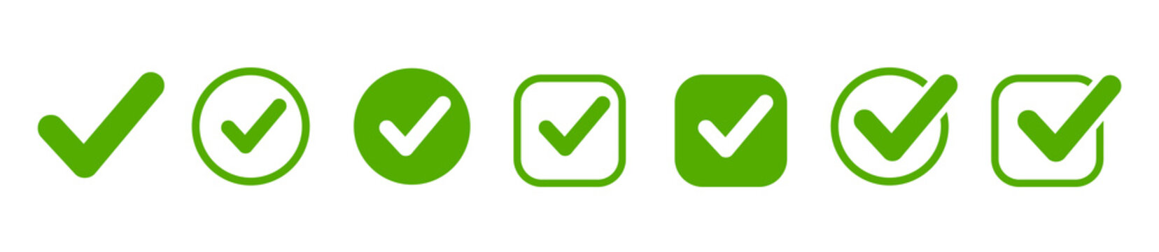 Approval check icon isolated, set quality sign, green tick – stock vector