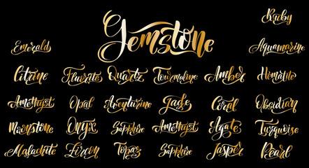 Gem names. Gemstones lettering set. Great vector stock