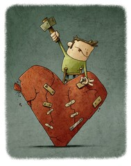 man on a ladder is patching a huge, cracked, crumbling heart. broken love concept