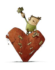 man on a ladder is patching a huge, cracked, crumbling heart. broken love concept, isolated