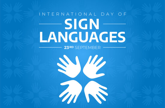 International Day of Sign Languages Blue Background