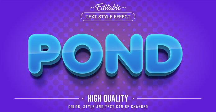 Editable text style effect - Pond theme style.