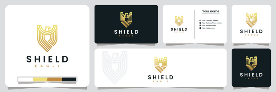 shield eagle ,with gold color, logo design inspiration