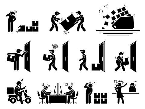 Logistic and shipping problem icons set. Vector illustrations of courier service and shipment issues due to broken parcel, thief, lost package, fail support, and customer complain.