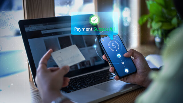 Modern money transaction transfer technology payment successful using mobile phone smart pay credit card billing info, online shopping ecommerce store ordering products, futuristic graphics icons