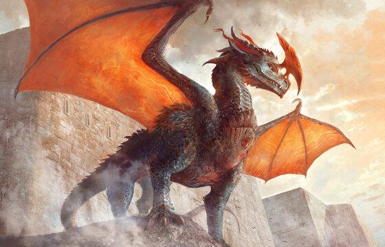 grand dragon orange à cornes devant un château